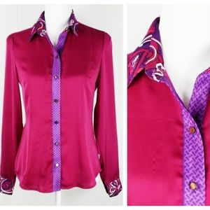 NY&Co : Luxurious Magenta Paisley Button Down